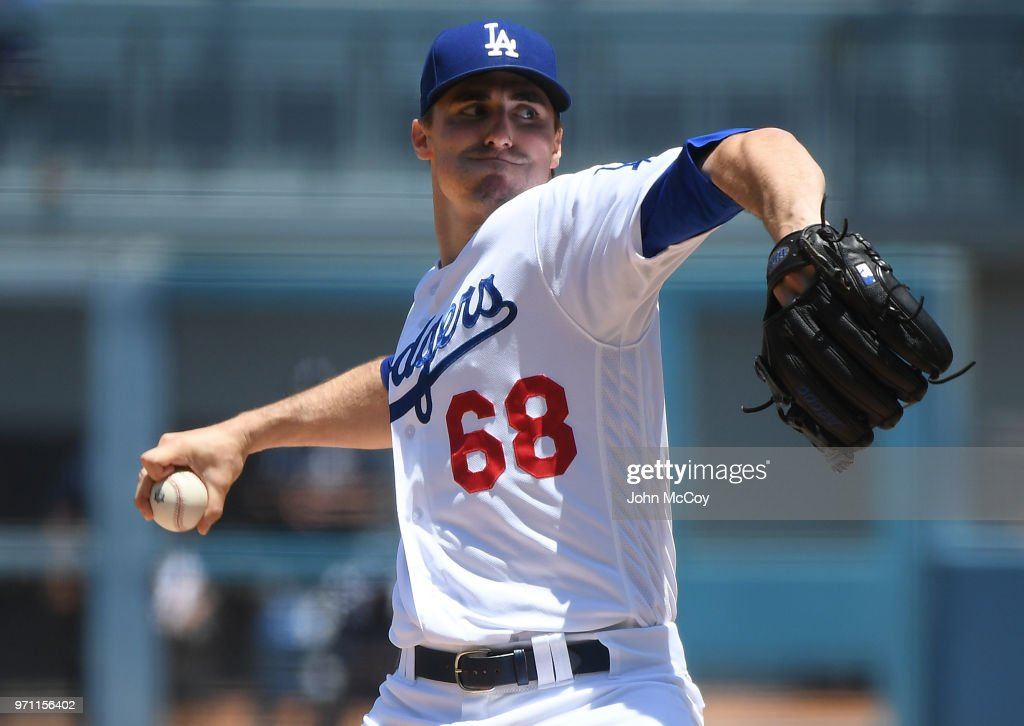 Ross Stripling #68 of the Los Angeles Dodgers pitches in the first inning against the Atlanta Braves at Dodger Stadium on June 10, 2018 in Los Angeles, California.