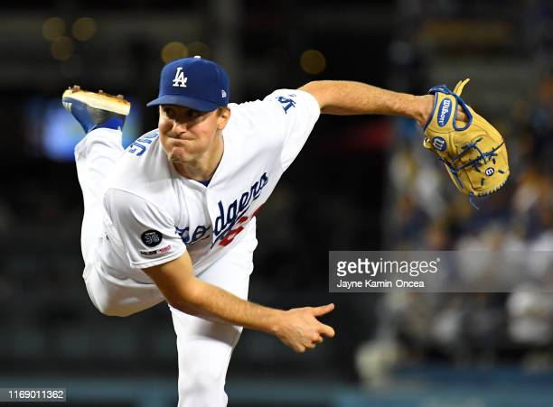 Ross Stripling of the Los Angeles Dodgers pitches in the fourth inning against the Tampa Bay Rays at Dodger Stadium on September 17, 2019 in Los...