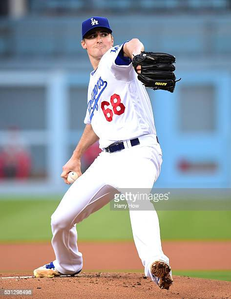 Ross Stripling of the Los Angeles Dodgers pitches to the St. Louis Cardinals during the first inning at Dodger Stadium on May 13, 2016 in Los...