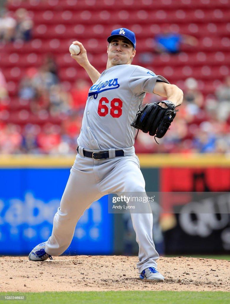 Ross Stripling #68 of the Los Angeles Dodgers throws a pitch against the Cincinnati Reds at Great American Ball Park on September 12, 2018 in Cincinnati, Ohio.