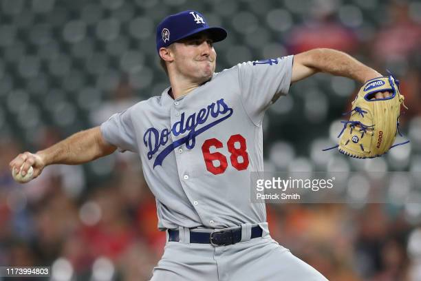 Ross Stripling of the Los Angeles Dodgers works the first inning against the Baltimore Orioles at Oriole Park at Camden Yards on September 11, 2019...