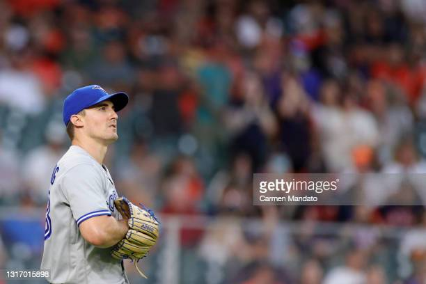 Ross Stripling of the Toronto Blue Jays looks on against the Houston Astros at Minute Maid Park on May 07, 2021 in Houston, Texas.