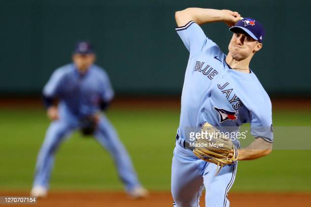 Ross Stripling of the Toronto Blue Jays pitches against the Boston Red Sox during the second inning at Fenway Park on September 04, 2020 in Boston,...