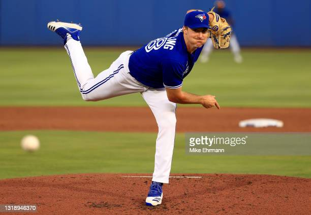 Ross Stripling of the Toronto Blue Jays pitches during a game against the Boston Red Sox at TD Ballpark on May 19, 2021 in Dunedin, Florida.