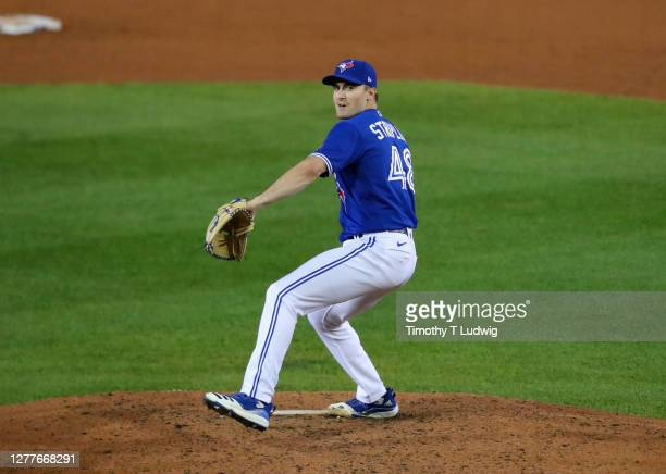 Ross Stripling of the Toronto Blue Jays throws a pitch against the New York Yankees at Sahlen Field on September 23, 2020 in Buffalo, New York. The...