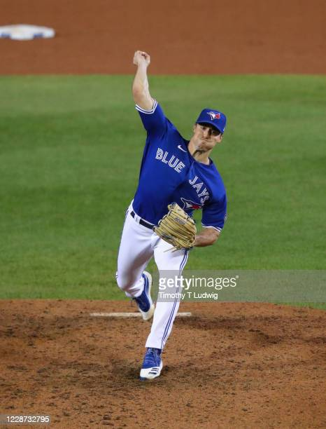 Ross Stripling of the Toronto Blue Jays throws a pitch during the eighth inning against the Baltimore Orioles at Sahlen Field on September 26, 2020...