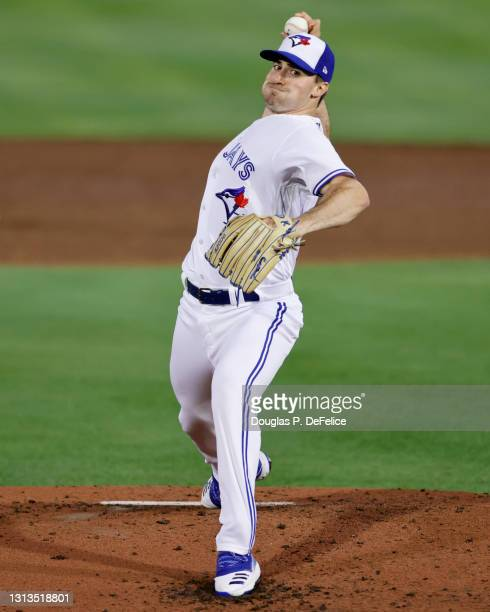 Ross Stripling of the Toronto Blue Jays throws a pitch during the third inning against the Los Angeles Angels during the season home opener at TD...