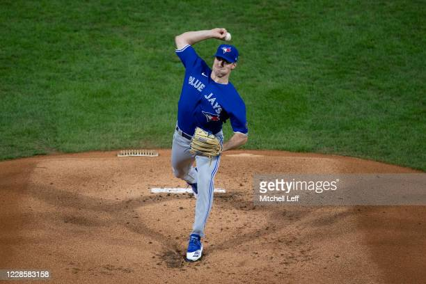 Ross Stripling of the Toronto Blue Jays throws a pitch in the bottom of the first inning against the Philadelphia Phillies during Game Two of the...