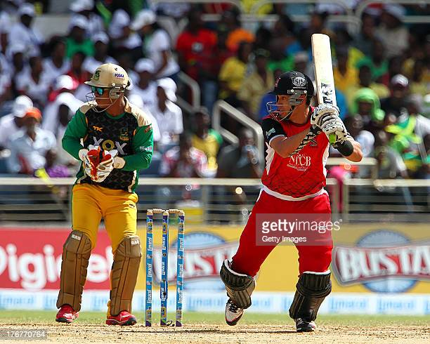 Ross Taylor and Carlton Baugh during the TwentyFirst Match of the Cricket Caribbean Premier League between Jamaica Tallawahs v Trinidad and Tobago...