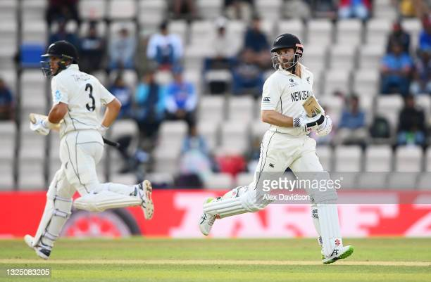 Ross Taylor and Kane Williamson of New Zealand pick up runs during the Reserve Day of the ICC World Test Championship Final between India and New...