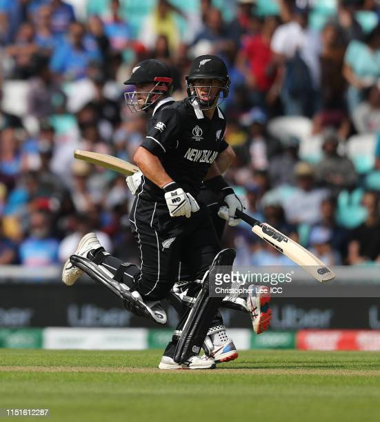 Ross Taylor and Kane Williamson of New Zealand run between the wickets during the ICC Cricket World Cup 2019 Warm Up match between India and New...