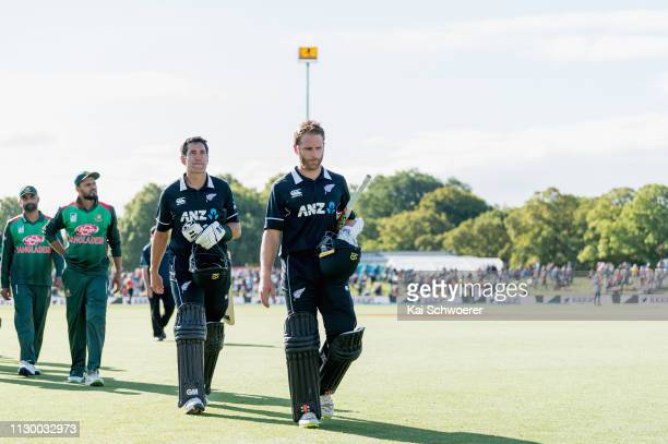 Ross Taylor and Kane Williamson of New Zealand walk from the ground after their win in Game 2 of the One Day International series between New Zealand...