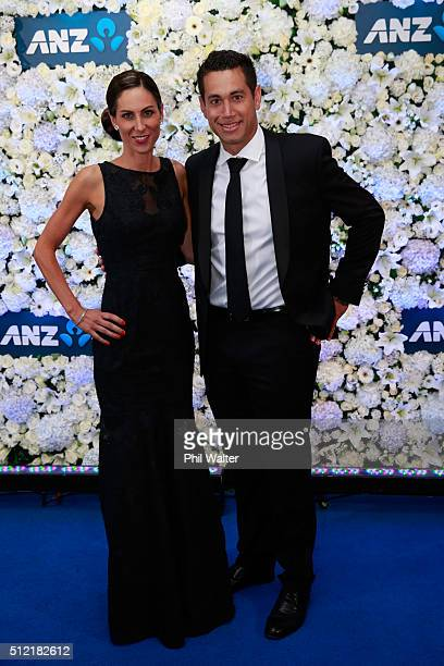 Ross Taylor and Victoria Taylor pose ahead of the 2016 New Zealand cricket awards at the Viaduct Events Centre on February 25 2016 in Auckland New...