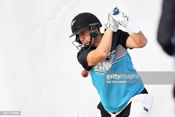 Ross Taylor bats during a New Zealand Blackcaps training session at the New Zealand Cricket High Performance Centre on May 13, 2021 in Lincoln, New...