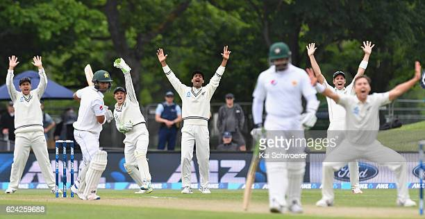 Ross Taylor BJ Watling Jeet Raval and Tim Southee of New Zealand LR appeal for the wicket of Sami Aslam of Pakistan during day three of the First...
