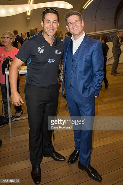 Ross Taylor left with TV Presenter John Campbell during the New Zealand Blackcaps Welcome Home Reception at Queen's Wharf on March 31 2015 in...