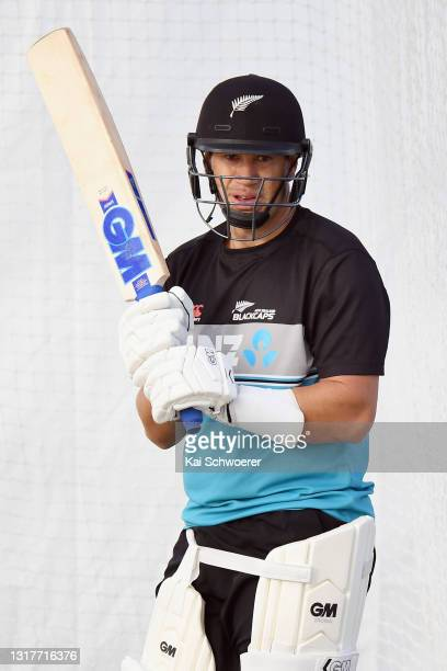 Ross Taylor looks on during a New Zealand Blackcaps training session at the New Zealand Cricket High Performance Centre on May 13, 2021 in Lincoln,...