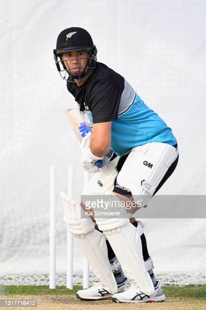 Ross Taylor looks to bat during a New Zealand Blackcaps training session at the New Zealand Cricket High Performance Centre on May 13, 2021 in...