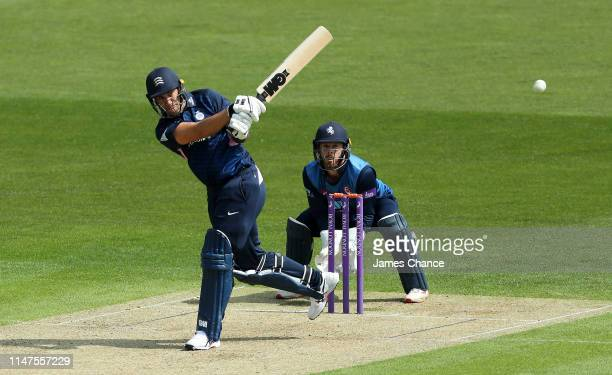 Ross Taylor of Middlesex bats as Kent Wicket keeper Adam Rouse looks on during the Royal London One Day Cup match between Kent and Middlesex at The...