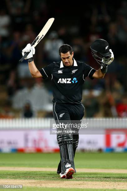 Ross Taylor of New Zealand acknowledges his century during game one of the One Day International Series between New Zealand and India at Seddon Park...