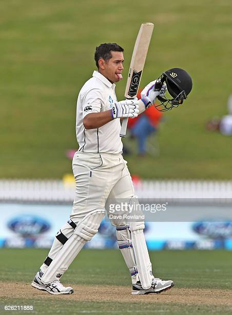 Ross Taylor of New Zealand acknowledges scoring 100 runs during day four of the Second Test match between New Zealand and Pakistan at Seddon Park on...