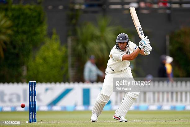Ross Taylor of New Zealand bats during day one of the Second Test match between New Zealand and Sri Lanka at the Basin Reserve on January 3 2015 in...