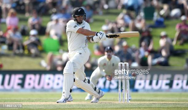 Ross Taylor of New Zealand bats during day two of the first Test match between New Zealand and England at Bay Oval on November 22 2019 in Mount...