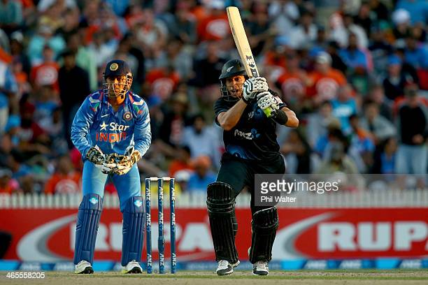 Ross Taylor of New Zealand bats during game four of the men's one day international series between New Zealand and India at Seddon Park on January 28...