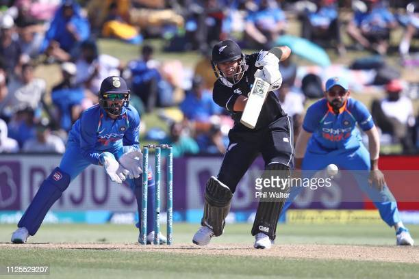 Ross Taylor of New Zealand bats during game three of the One Day International series between New Zealand and India at Bay Oval on January 28, 2019...