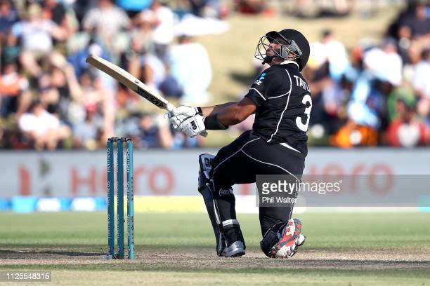 Ross Taylor of New Zealand bats during game three of the One Day International series between New Zealand and India at Bay Oval on January 28 2019 in...