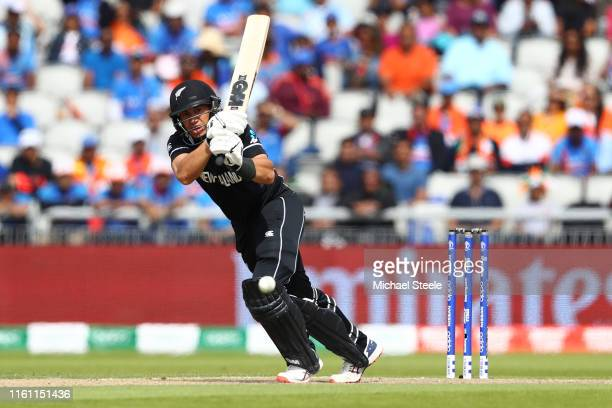 Ross Taylor of New Zealand bats during resumption of the SemiFinal match of the ICC Cricket World Cup 2019 between India and New Zealand after...