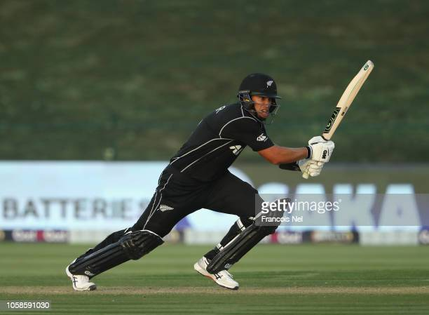 Ross Taylor of New Zealand bats during the 1st One Day International match between Pakistan and New Zealand at Sheikh Zayed stadium on November 7...