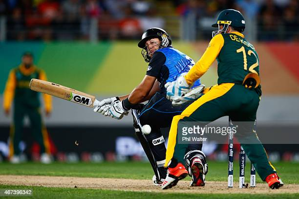 Ross Taylor of New Zealand bats during the 2015 Cricket World Cup Semi Final match between New Zealand and South Africa at Eden Park on March 24 2015...