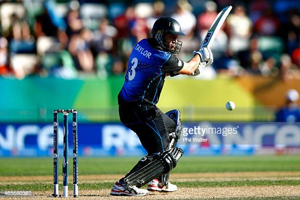 Ross Taylor of New Zealand bats during the 2015 ICC Cricket World Cup match between New Zealand and Afghanistan at McLean Park on March 8 2015 in...