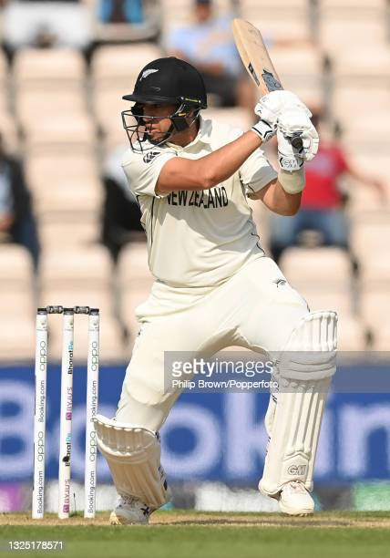 Ross Taylor of New Zealand bats during the ICC World Test Championship Final against India at The Hampshire Bowl on June 23, 2021 in Southampton,...