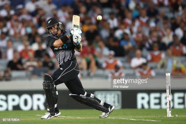 Ross Taylor of New Zealand bats during the International Twenty20 Tri Series Final match between New Zealand and Australia at Eden Park on February...