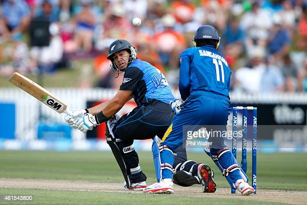 Ross Taylor of New Zealand bats during the One Day International match between New Zealand and Sri Lanka at Seddon Park on January 15 2015 in...