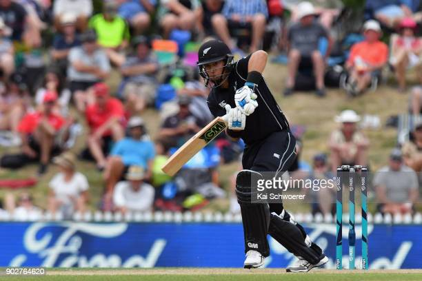 Ross Taylor of New Zealand bats during the second match in the One Day International series between New Zealand and Pakistan at Saxton Field on...