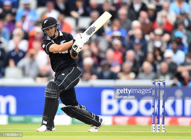Ross Taylor of New Zealand bats during the SemiFinal match of the ICC Cricket World Cup 2019 between India and New Zealand at Old Trafford on July 09...