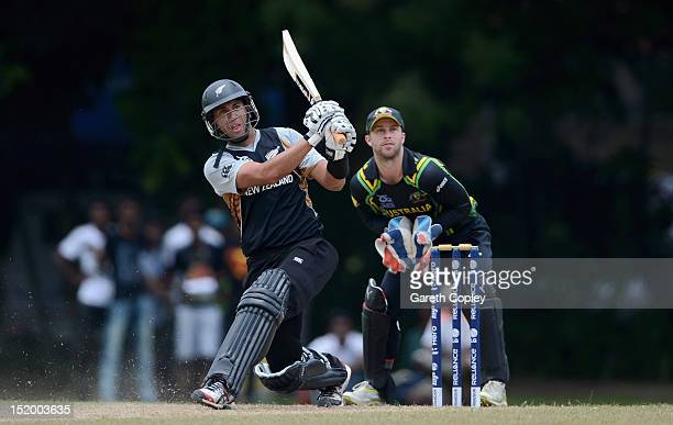 Ross Taylor of New Zealand bats during the T20 World Cup Warm Up Match between Australia and New Zealand at Nondescripts Cricket Club on September 15...