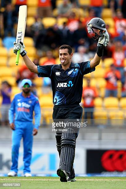 Ross Taylor of New Zealand celebrates his century during Game 5 of the men's one day international between New Zealand and India at Westpac Stadium...