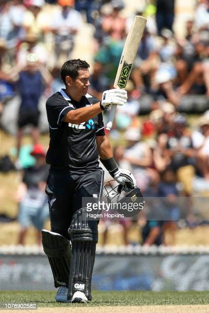 Ross Taylor of New Zealand celebrates his century during game three of the One Day International match between New Zealand and Sri Lanka at Saxton...
