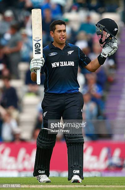Ross Taylor of New Zealand celebrates his century during the 3rd ODI Royal London OneDay Series 2015 at the Ageas Bowl on June 14 2015 in Southampton...