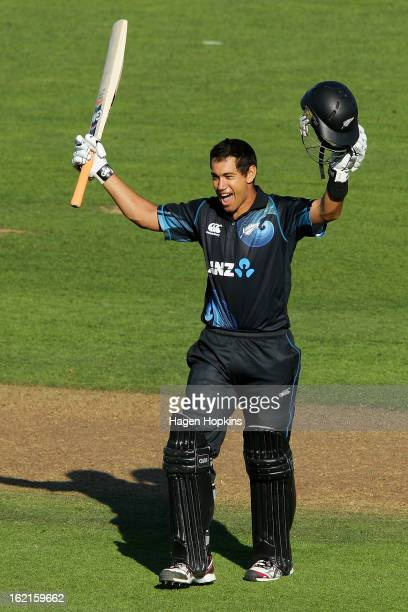 Ross Taylor of New Zealand celebrates his century during the second match of the international Twenty20 series between New Zealand and England at...