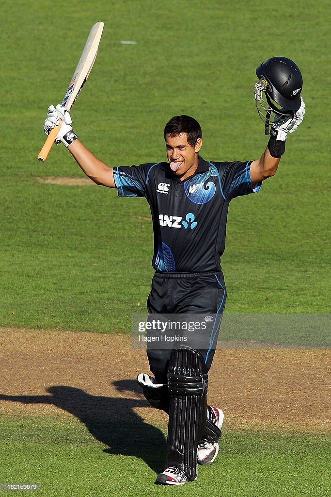 Ross Taylor of New Zealand celebrates his century during the second match of the international Twenty20 series between New Zealand and England at McLean Park on February 20, 2013 in Napier, New Zealand.