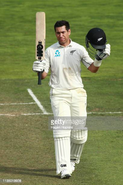Ross Taylor of New Zealand celebrates his double century during day four of the second test match in the series between New Zealand and Bangladesh at...