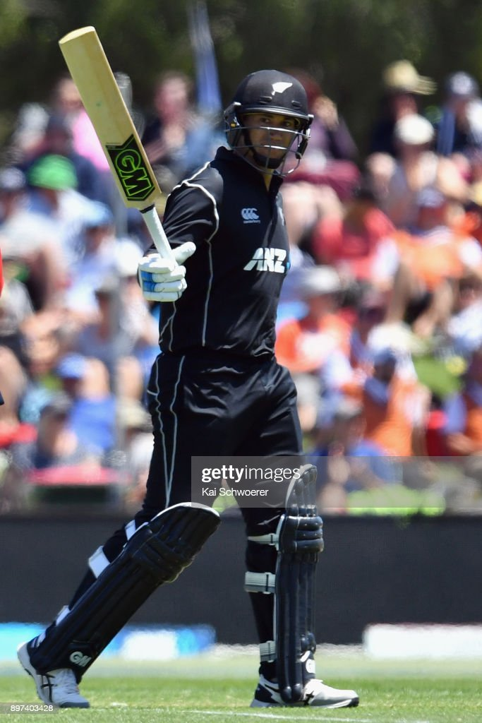 Ross Taylor of New Zealand celebrates his half century during the One Day International match between New Zealand and the West Indies at Hagley Oval on December 23, 2017 in Christchurch, New Zealand.