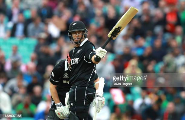 Ross Taylor of New Zealand celebrates his half century during the Group Stage match of the ICC Cricket World Cup 2019 between Bangladesh and New...