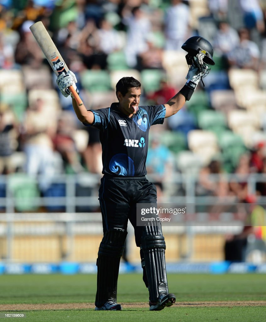Ross Taylor of New Zealand celebrates reaching his century during the second match of the international Twenty20 series between New Zealand and England at McLean Park on February 20, 2013 in Napier, New Zealand.