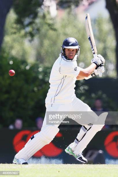 Ross Taylor of New Zealand drives the ball away during day two of the first test match between New Zealand and the West Indies at University Oval on...